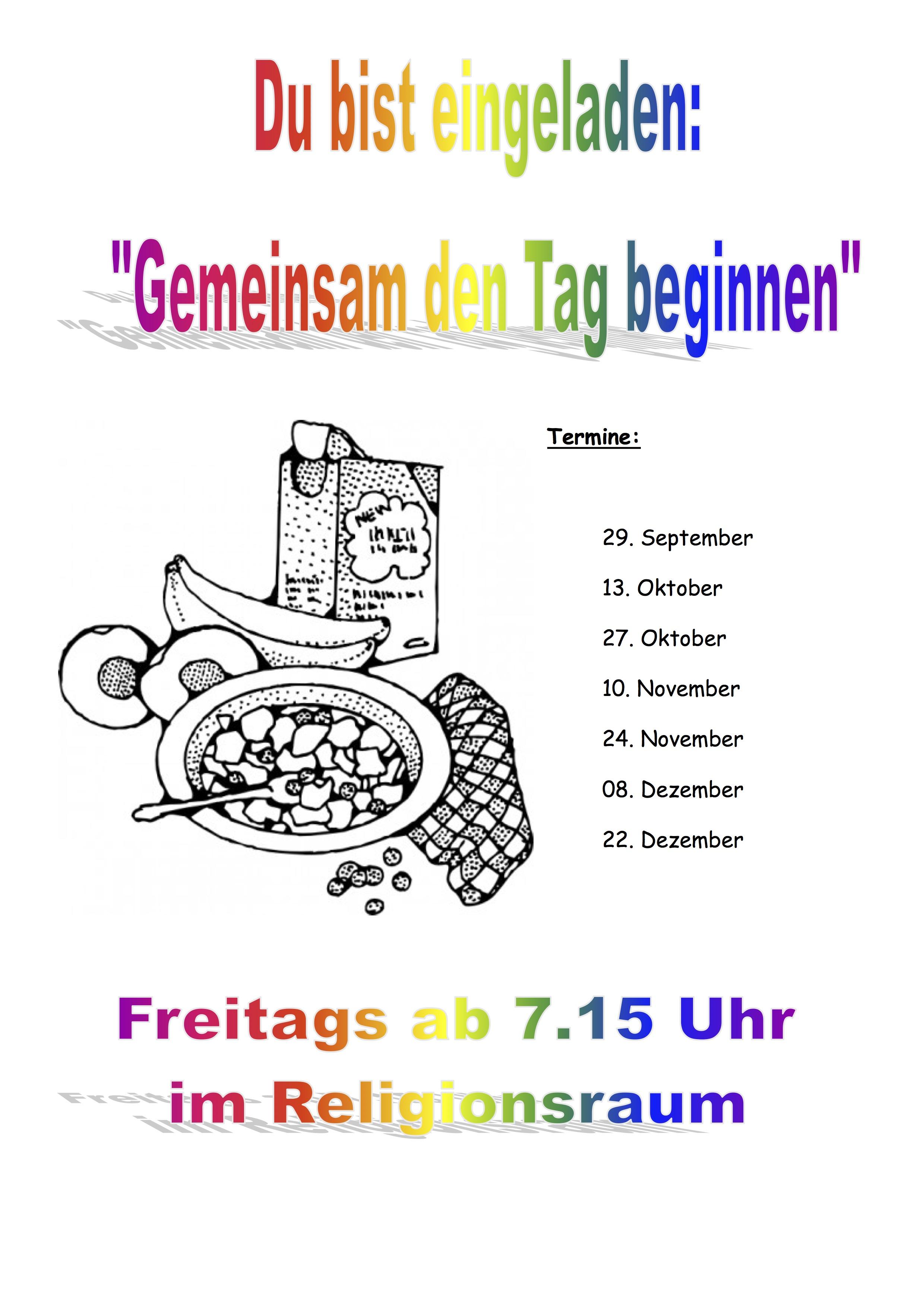 Plakat Termine Schulfruehstueck